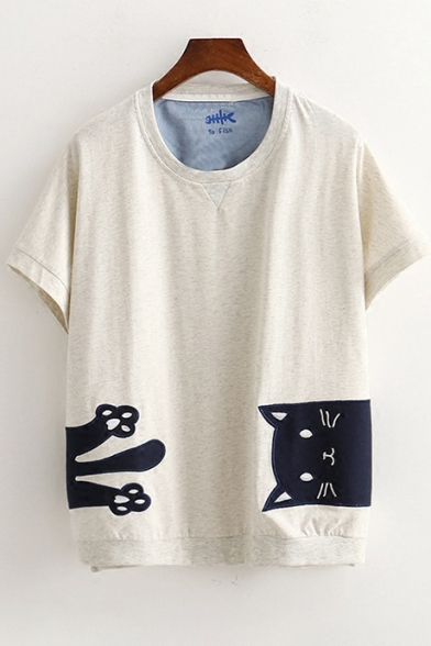 Cat Embroidered Neck Short Tee Round Applique Sleeve RqWqOP