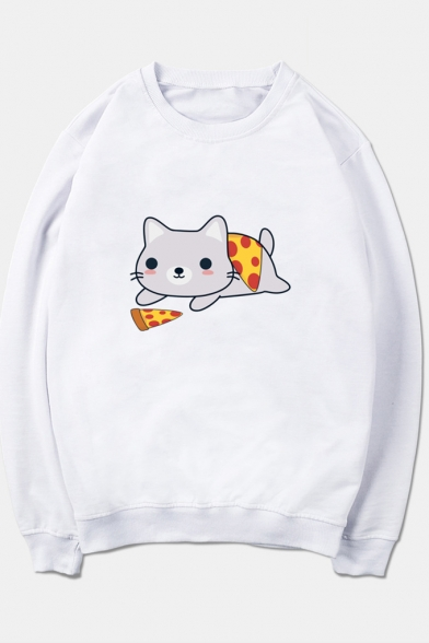 Long Printed Pizza Sleeve Round Cat Neck Sweatshirt FqCn4fgx