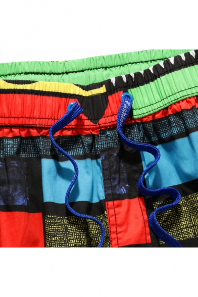 Colorful Big and Tall Quick Drying Color Block Beachwear for Guys with Side Cargo Pockets