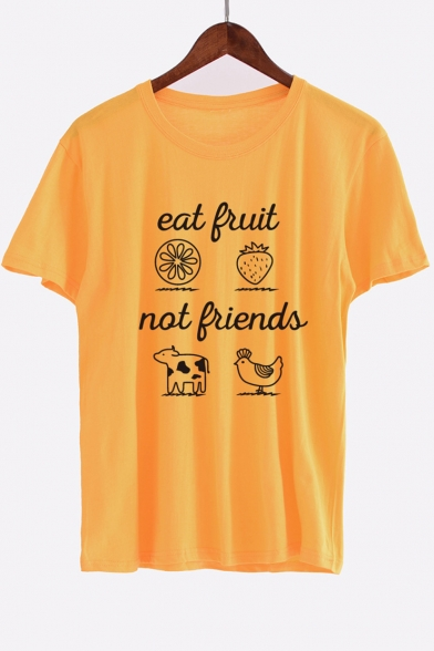 Animal EAT Sleeve Letter Printed Round Fruit Neck Tee FRUIT Short 7trFg8Wt