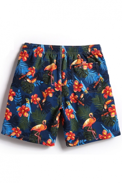 Fashion Navy Blue Fast Drying Floral Flamingo Tropical Printed Drawstring Bathing Shorts Men with Mesh Brief