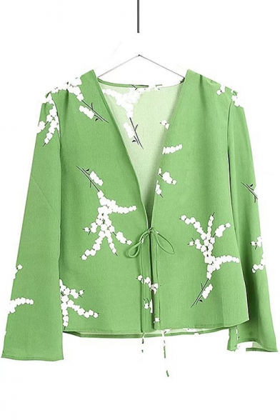 Floral Printed V Neck Long Sleeve Tied Front Blouse