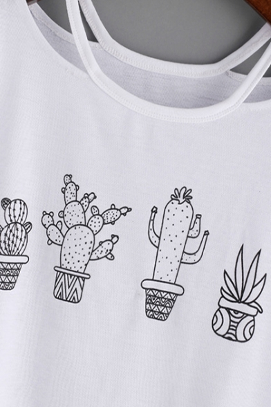 Out Hollow Cactus Neck Sleeve Tee Printed Short Round BTqrnTd