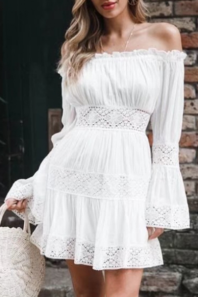 Hollow Sleeve Out Line A Off Dress Shoulder The Long Mini W1aaZqr