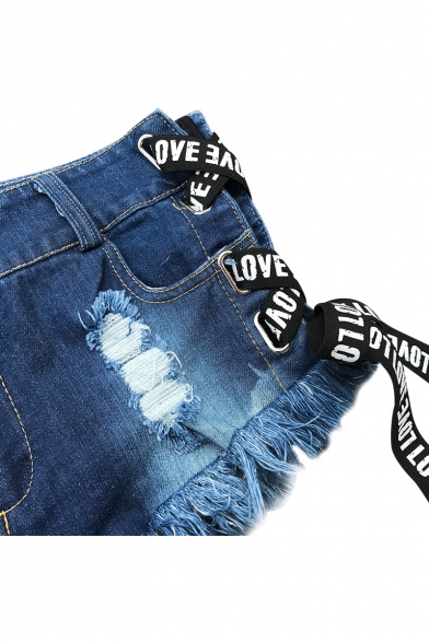 Letter Printed Lace Up Side Zipper Fly Hot Pants Denim Shorts