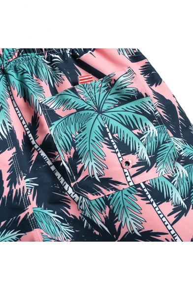 Mens Summer Short Pink Palm Plant Swim Shorts Beachwear with Liner and Pockets