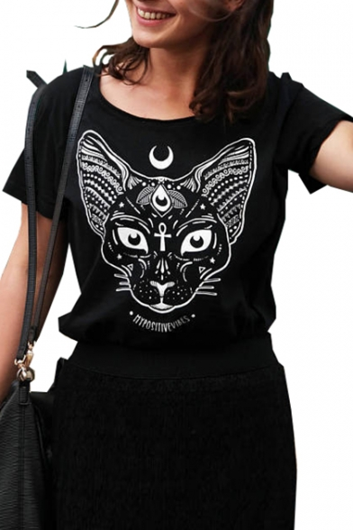 Sleeve Round Tee Letter Short Neck Printed Cat Moon xC5q0wtYFF