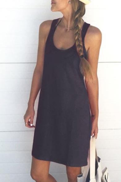 Dress Mini Cami Round Sleeveless Neck Plain IpqtXX