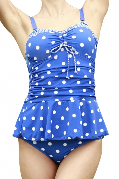 Polka Dot Printed Spaghetti Straps Sleeveless Two Pieces Swimwear