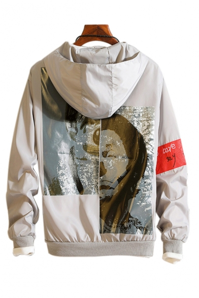 Image of Abstract Character Printed Letter Embroidered Zip Up Long Sleeve Hooded Coat