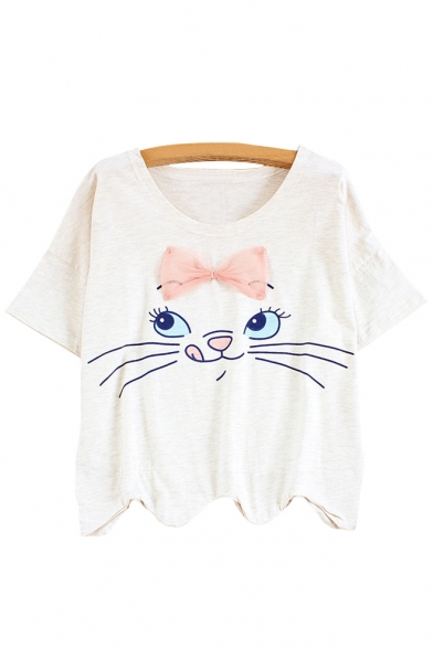 Embellished Neck Cat Sleeve Round Printed Asymmetric Hem Tee Short Bow wFx7nIZx