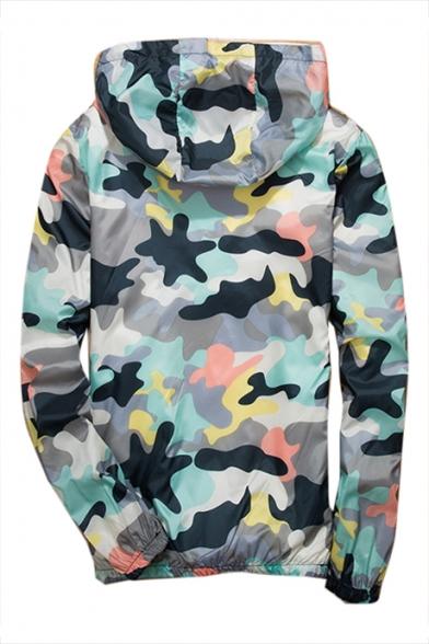 Up Printed Zip Proof Sleeve Hooded Camouflage Sun Coat Long fazxOqg