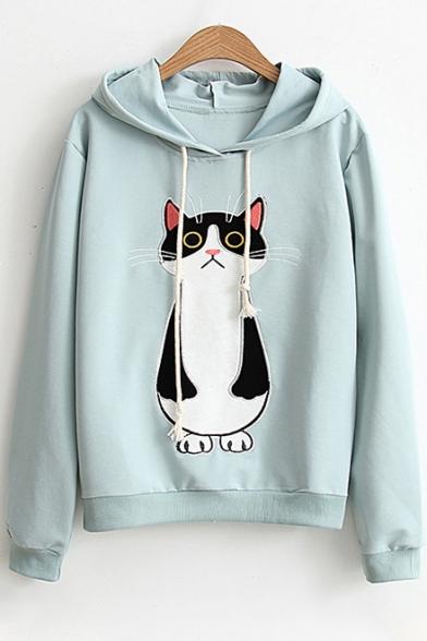 Embroidered Embroidered Long Sleeve Long Sleeve Hoodie Hoodie Embroidered Cat Long Cat Cat fYwBtnZq