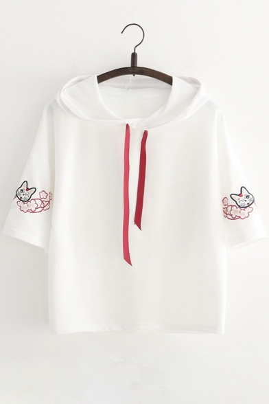 Tee Sleeve Cat Short Embroidered Hooded Floral aRqRXwTrg