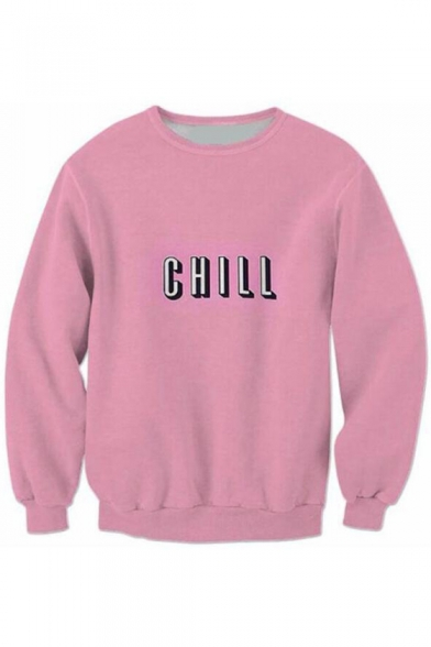 Sweatshirt Sleeve Long CHILL for Letter Couple Print Pullover UwpUxTaq