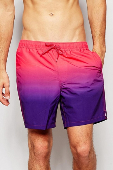 e64caa2d16 Classic Quick Dry Pink and Purple Ombre Colorblocked Swimming Shorts Trunks  for Men with Pockets ...