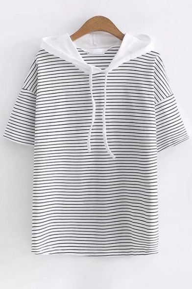 Color Hooded Short Block Sleeve Printed Tee Hood Striped AAxFwC7q