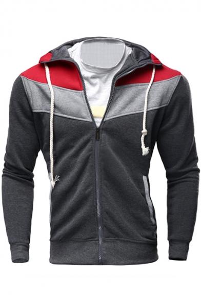 Long Zip Hoodie Block Sleeve Up Slim Color qz6FEx