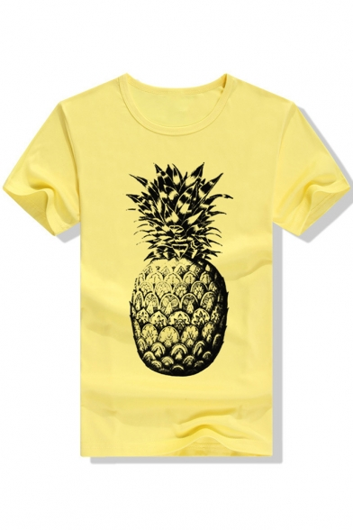Round Comfort Printed Pineapple Tee Sleeve Short Neck gqUBqaw