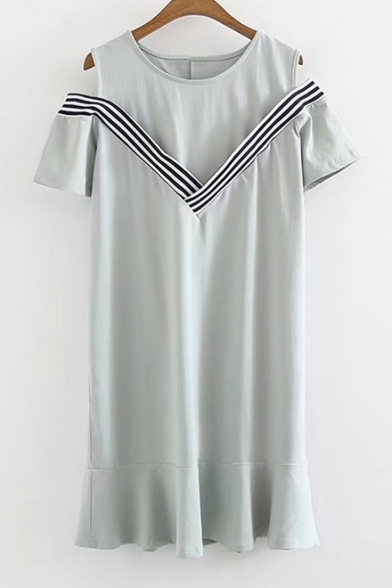Dress Round Out Shoulder Sleeve Ruffle Cut Neck Short Hem Stripes tazxq1w