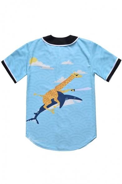 Deer and Shark Printed Panel Short Sleeve Button-Front Shirt