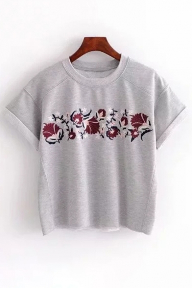 Floral Neck Short Embroidered Leisure Round Tee Sleeve qqpzwZxn