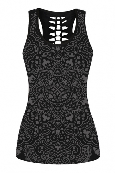 Tank Sleeveless Back Out Floral Hollow Printed q7tXU