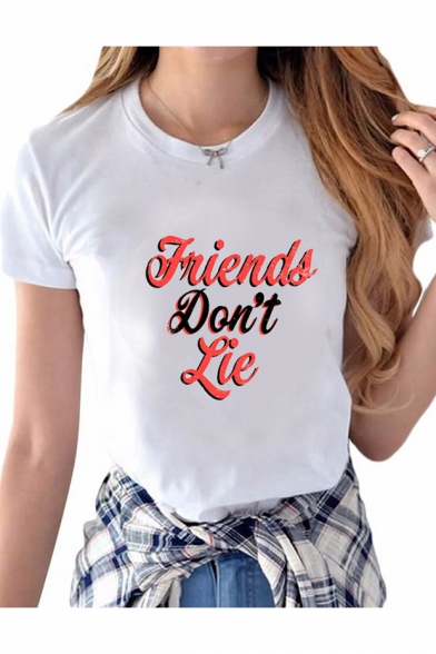 Letter Neck Short DON'T Round FRIENDS LIE Printed Tee Sleeve 6Eaq4P