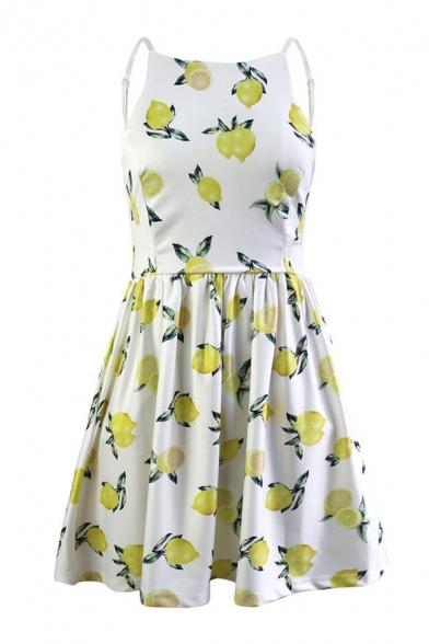 Lemon Printed Spaghetti Straps Sleeveless Hollow Out Back Mini A-Line Dress