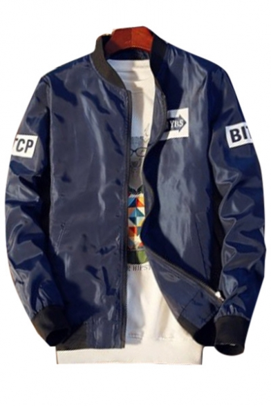 Up Zip Long Up Baseball Stand Sleeve Jacket Collar Letter Printed nEZ1p