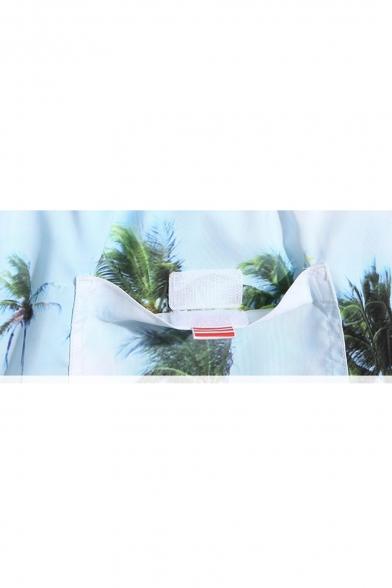 00bda4c2145a1 ... Mens Blue Beach Palm Print Swim Shorts Trunks with Mesh Lined Pockets