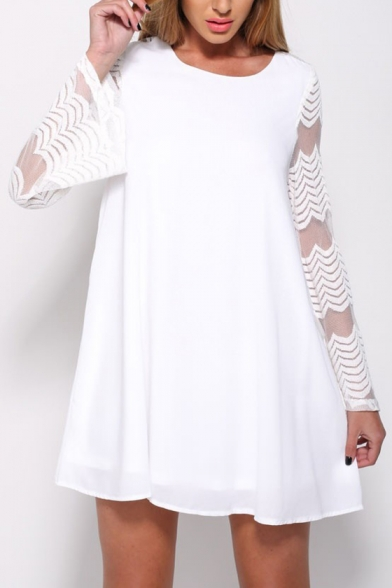 A Mesh Patchwork Line Round Long Dress Sleeve Neck Mini rFSYRFwq