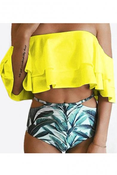 Off The Shoulder Leaf Printed Bottom Ruffle Detail Bikini, Green;watermelon;white;yellow;sky blue, LC471848