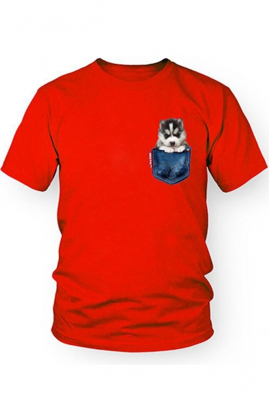Pocket Dog Printed Round Neck Short Sleeve Tee