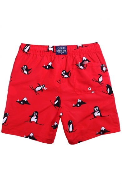 Red Cute Guys Drawstring Skiing Penguin Swim Trunks without Brief Liner