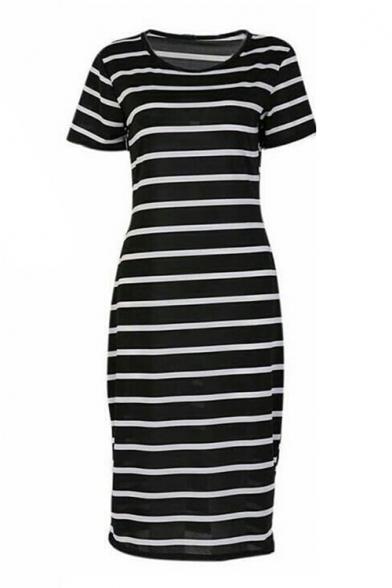 f1f55a7c2cb Round Neck Short Sleeve Striped Printed Maxi T-Shirt Dress ...