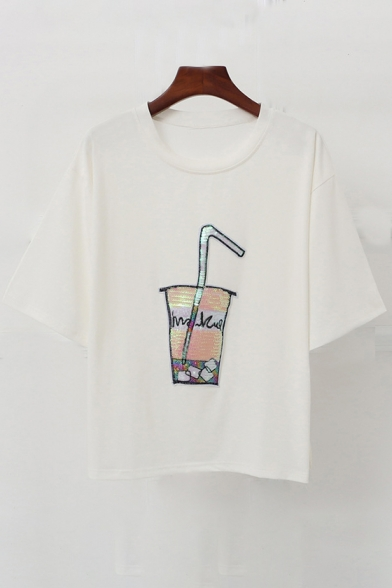 Printed Round Sleeve Short Neck Tee Drink Sequined ROw6q