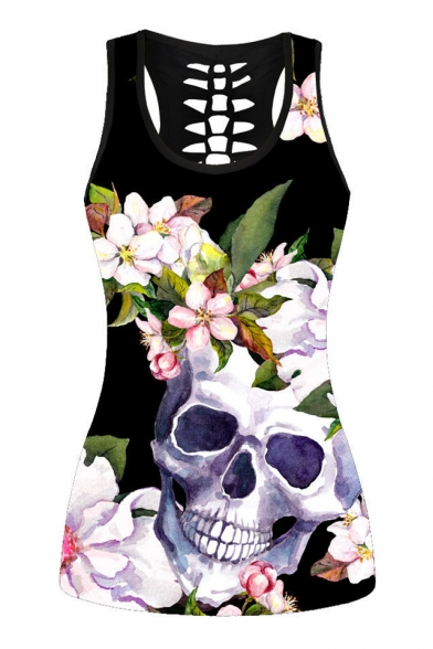 Skull Floral Printed Hollow Out Back Sleeveless Tank