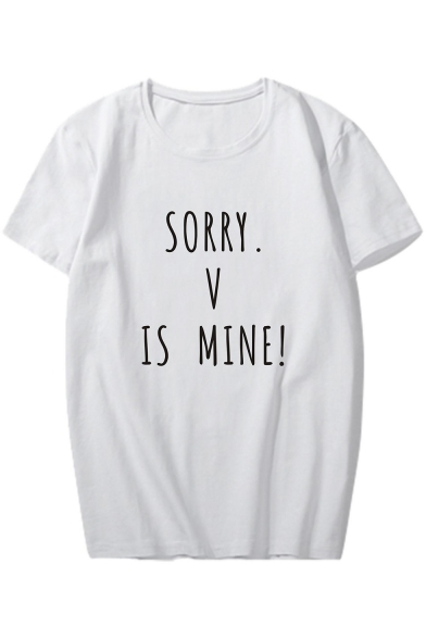 SORRY IS Round Printed Letter V Sleeve Tee MINE Neck Short BB5xOHqwr