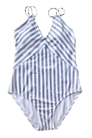 Straps Piece One Sleeveless Swimwear Striped Spaghetti Crisscross 7tqw7dC