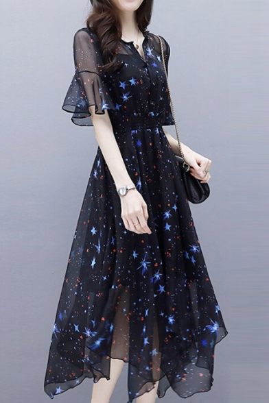 Star Printed V Neck Short Sleeve Midi Asymmetric Chiffon Dress