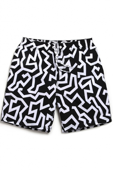 51cd6bc447 Top Designer Black and White Drawcord Striped Swim Shorts Trunks for Men  with Pockets ...