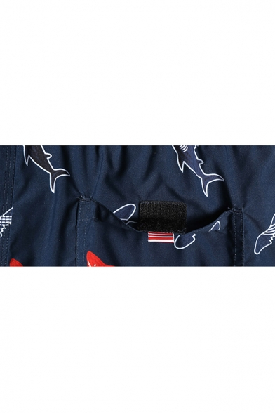 Trendy Navy Blue Fast Drying Drawcord Shark Fish Beach Shorts for Men with Mesh Brief