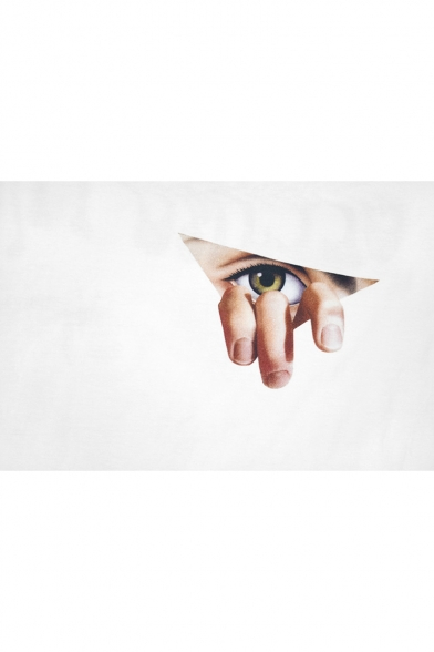 Short Printed Eye Sleeve Tee Finger Triangle Round Neck Cw6vx4OqO