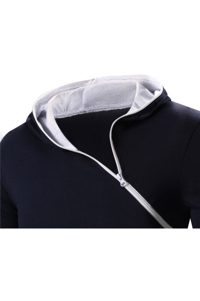 Plain Slim Sleeve Tee Long Front Zipper Hooded Fnq6vtA