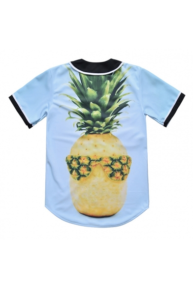 Pineapple 3D Printed Buttons Tee Sleeve Down Baseball Short 4ddr5Sxqw