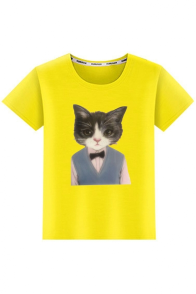Cat Head Body Printed Round Neck Short Sleeve Tee