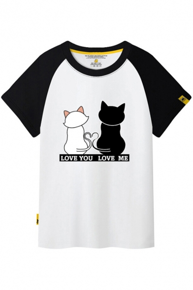 Color Block Raglan Short Sleeve Couple Cats Letter Printed Round Neck Tee