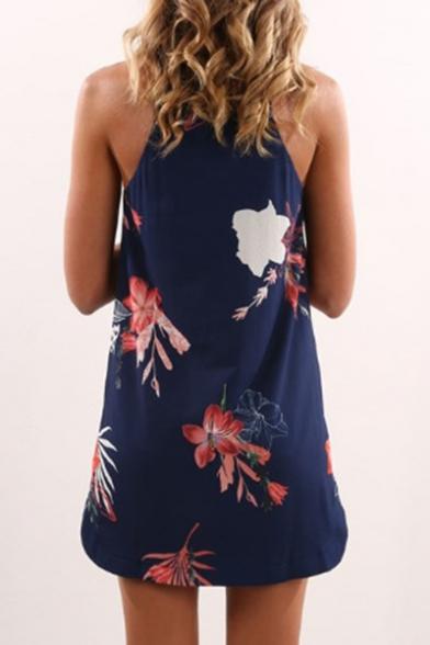 Floral Printed Sleeveless Mini Cami Dress