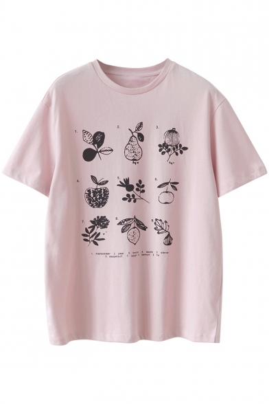 Round Number Sleeve Printed Tee Short Neck Fruit T740w0